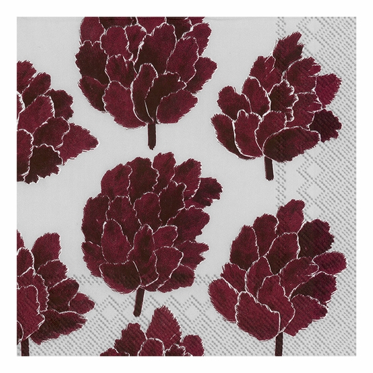 Marimekko Kapykukka Grey / Bordeaux Lunch Napkins