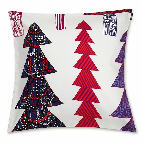 Marimekko Kuusikossa Grey / Red / Blue Medium Throw Pillow