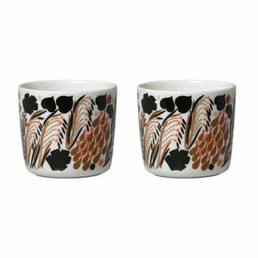Marimekko Letto White / Brown / Pink Coffee Cups - Set of 2