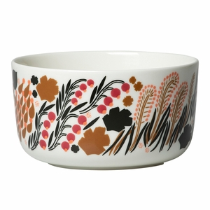 Marimekko Letto White / Brown / Pink Soup / Cereal Bowl