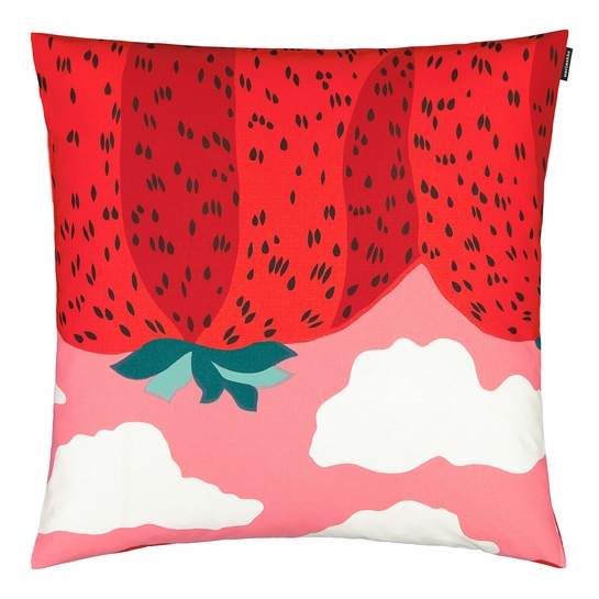 Marimekko Mansikkavuoret Pink / Red Large Throw Pillow