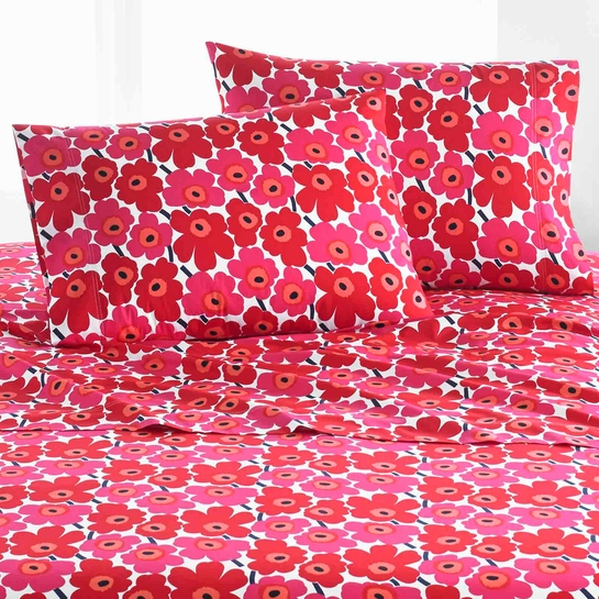 Marimekko Mini Unikko Red Standard Pillowcase Set