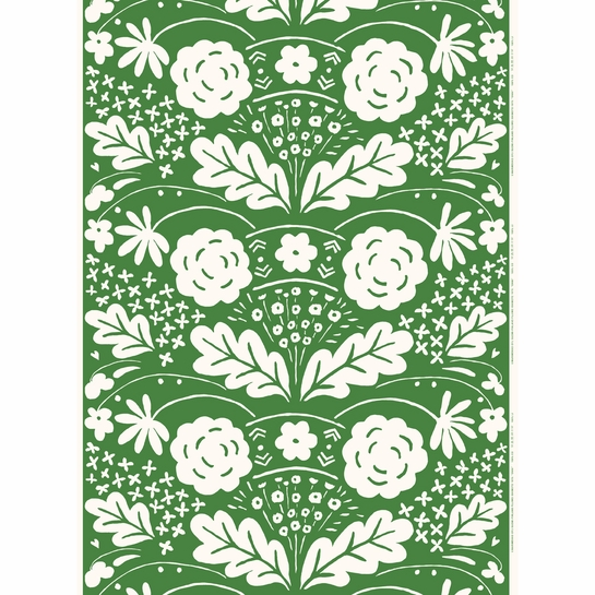 Marimekko Onni Green Acrylic-coated Cotton Fabric