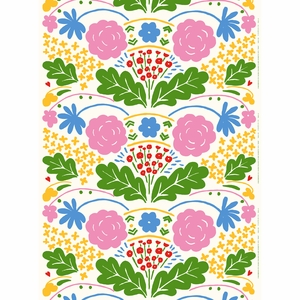 Marimekko Onni White / Multi Acrylic-coated Cotton Fabric