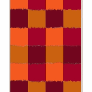 Marimekko Ostjakki Orange / Burgundy Cotton / Linen Fabric Repeat