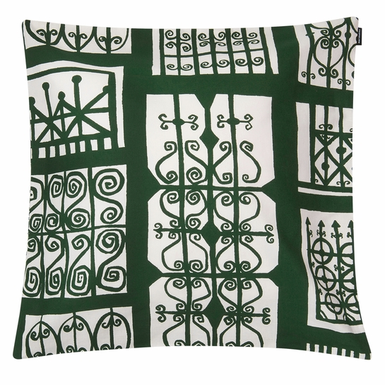 Marimekko Pariisin Portit Ecru / Green Large Throw Pillow