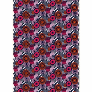 Marimekko Pieni Siirtolapuutarha White / Navy / Multi Acrylic-coated Cotton Fabric