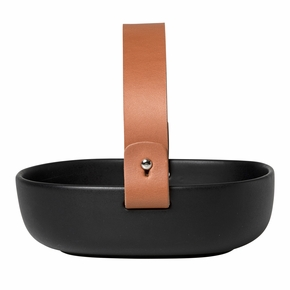 Marimekko Pikku Koppa Black Serving Dish w/ Leather Handle