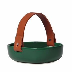 Marimekko Pikku Koppa Green Serving Dish w/ Leather Handle