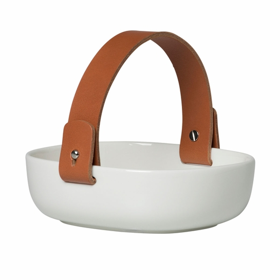 Marimekko Pikku Koppa White Serving Dish w/ Leather Handle