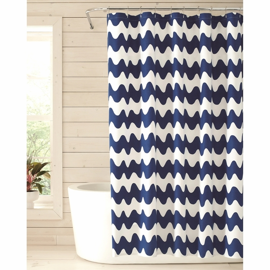 Marimekko Pikku Lokki White / Blue Cotton Shower Curtain