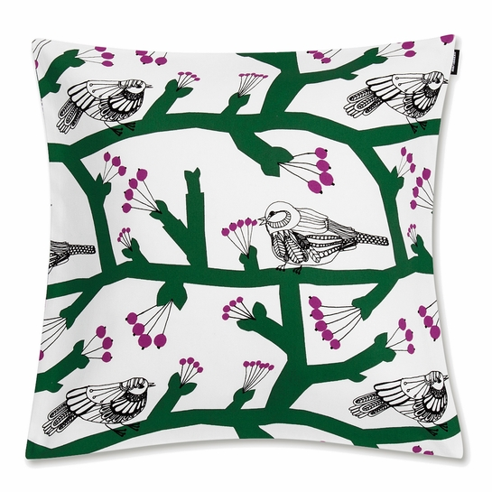 Marimekko Pikkupakkanen White / Green / Fuchsia Medium Throw Pillow