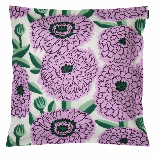 Marimekko Primavera White / Lilac / Green Medium Pillow