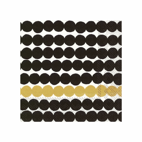 Marimekko Rasymatto Black / Gold Cocktail Napkins