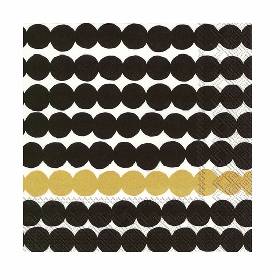 Marimekko Rasymatto Black / Gold Lunch Napkins