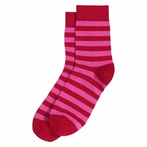 Marimekko Striped Red / Fuchsia Glitter Socks