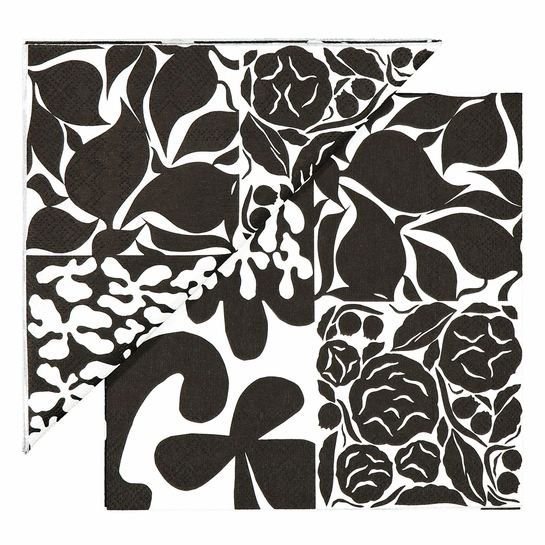 Marimekko Ruudut White / Black Lunch Napkins