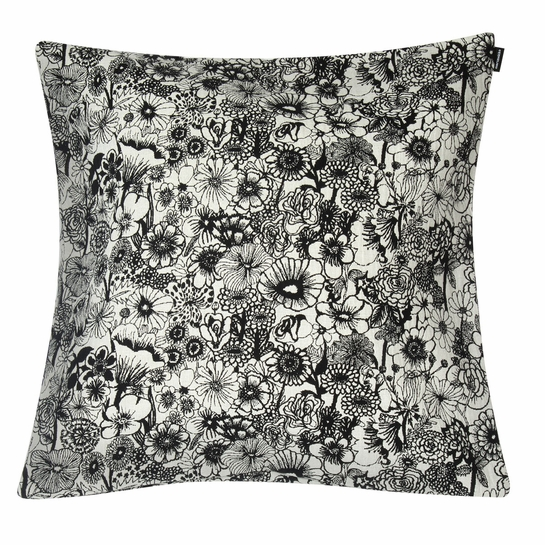 Marimekko Seppelekukat Ecru / Black Large Throw Pillow
