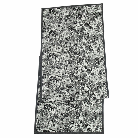 Marimekko Seppelekukat Ecru / Black Table Runner