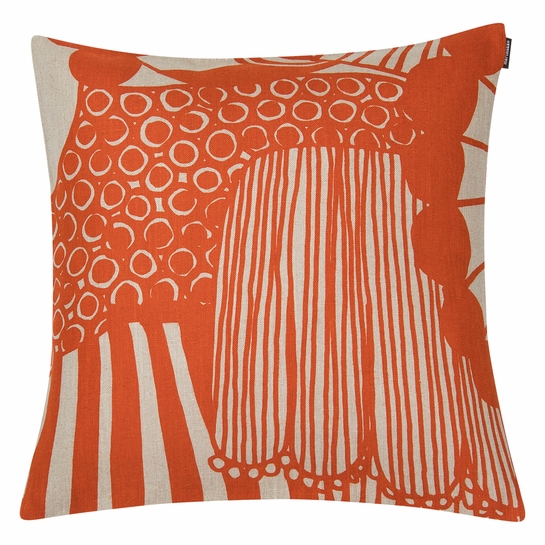 Marimekko Siirtolapuutarha Beige / Orange Small Throw Pillow