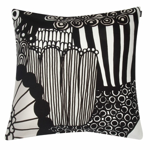 Marimekko Siirtolapuutarha White / Black / Ecru Large Throw Pillow