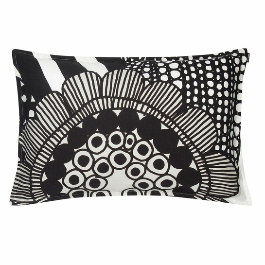 Marimekko Siirtolapuutarha White / Black / Ecru Lounge Throw Pillow