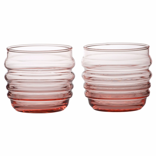 Marimekko Socks Rolled Down Coral Tumblers - Set of 2