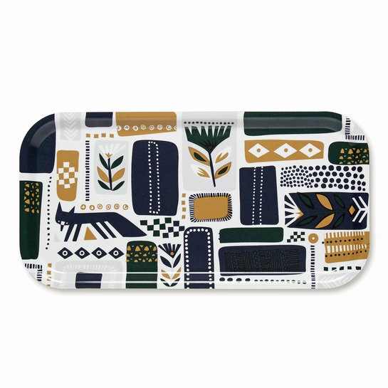 Marimekko Svaale White / Navy / Green Long Tray