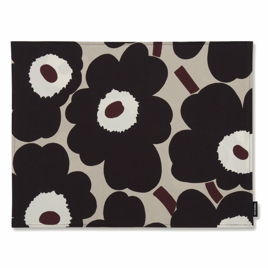 Marimekko Unikko Beige / Charcoal Acrylic-coated Cotton Placemat