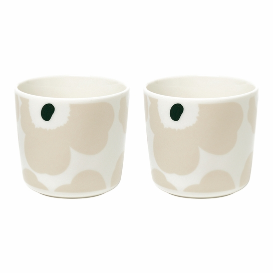 Marimekko Unikko Beige / Green Coffee Cups - Set of 2