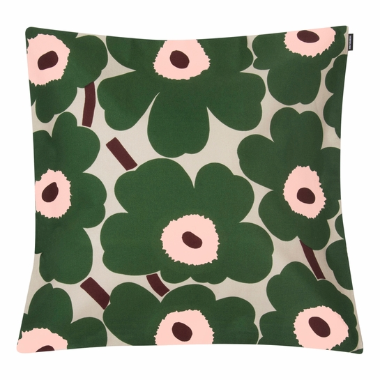 Marimekko Unikko Beige / Green / Pink Large Throw Pillow