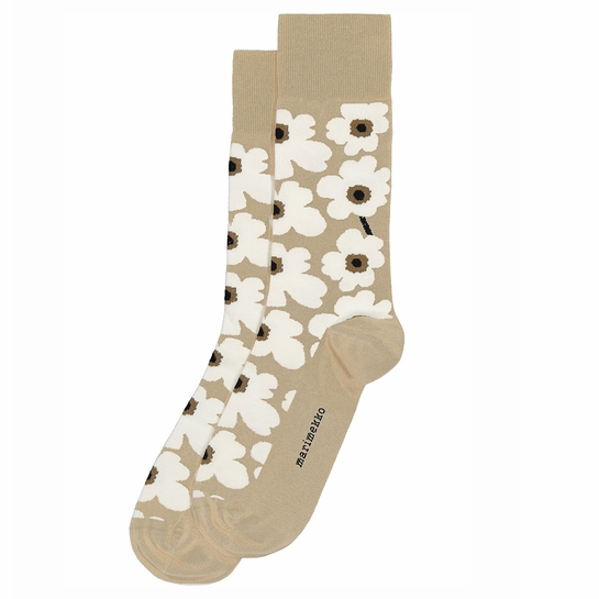 Marimekko Unikko Beige / White / Brown Men's Socks