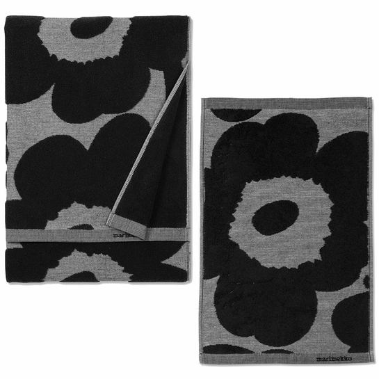 Marimekko Unikko Black / Grey Jacquard Bath Towels