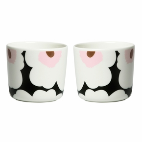 Marimekko Unikko Dark Green / White / Pink Coffee Cup Set