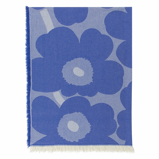 Marimekko Unikko Blue Throw Blanket