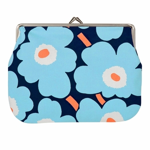Marimekko Unikko Blue / Peach Large Coin Purse