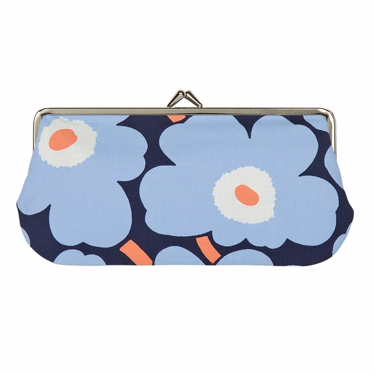 Marimekko Unikko Blue / Peach Oblong Coin Purse