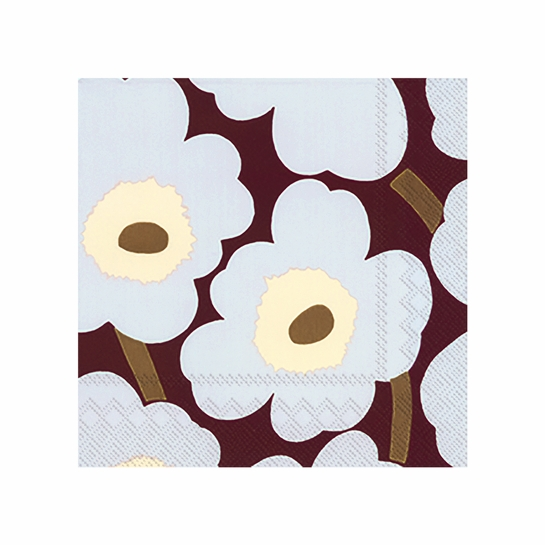 Marimekko Unikko Bordeaux / Grey Cocktail Napkins