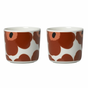 Marimekko Unikko Brown / Beige / Black Coffee Cups - Set of 2