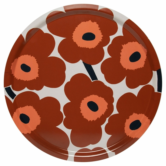 Marimekko Unikko Brown / Beige / Navy Large Round Tray