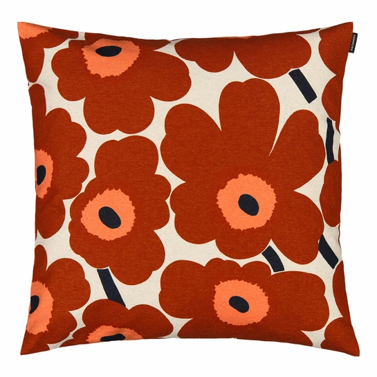 Marimekko Unikko Brown / Beige / Navy Heavyweight Large Throw Pillow