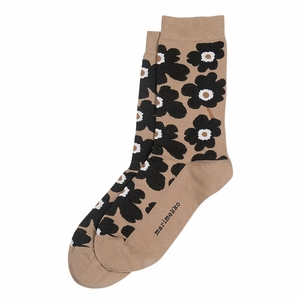 Marimekko Unikko Brown / Black / White Socks