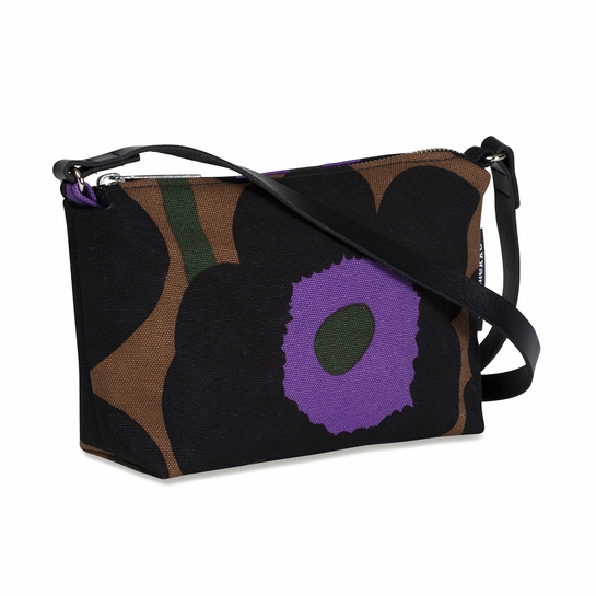 Marimekko Unikko Brown / Purple / Black Heli Bag