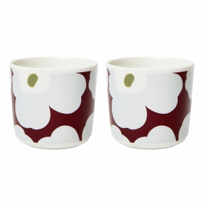 Marimekko Unikko Cranberry / Grey / Olive Coffee Cups - Set of 2