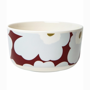 Marimekko Unikko Cranberry / Grey / Olive Soup / Cereal Bowl