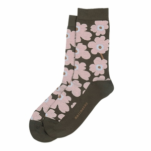 Marimekko Unikko Dark Green / Pink / Brown Socks