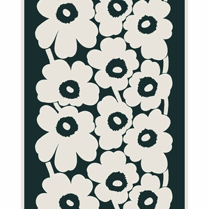 Marimekko Unikko Green / Beige Cotton / Linen Fabric