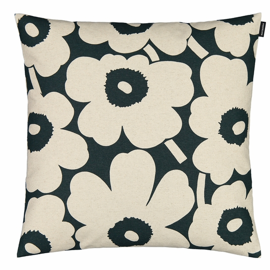 Marimekko Unikko Green / Beige Large Throw Pillow