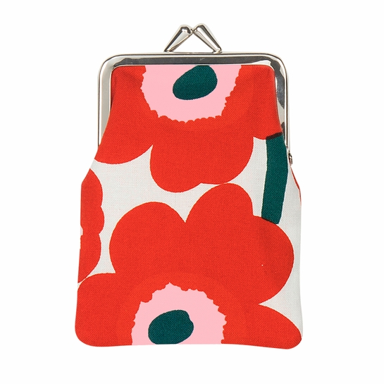 Marimekko Unikko Ivory / Red / Green Small Coin Purse