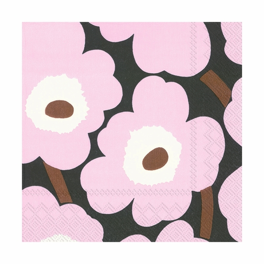 Marimekko Unikko Lilac / Brown Lunch Napkins